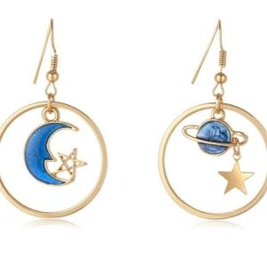 Moon star earth planet hoop earrings assymetric